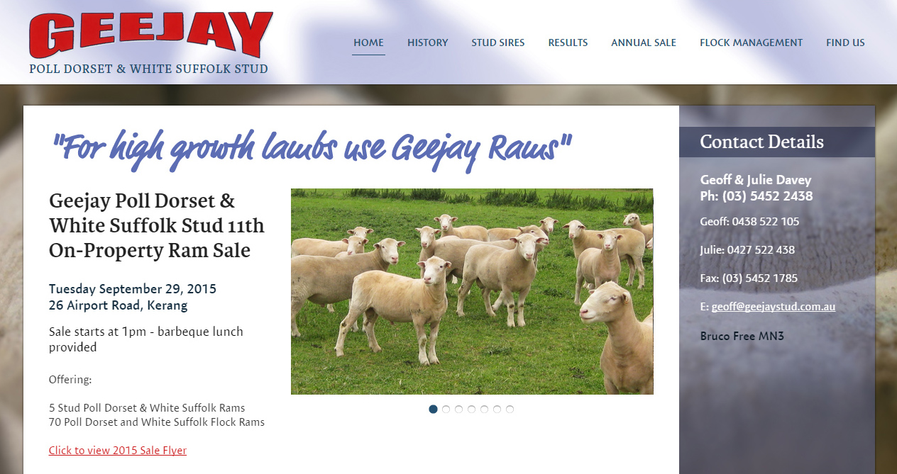 Geejay Stud website