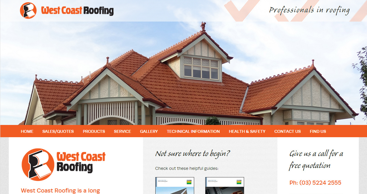 West Coast Roofing website