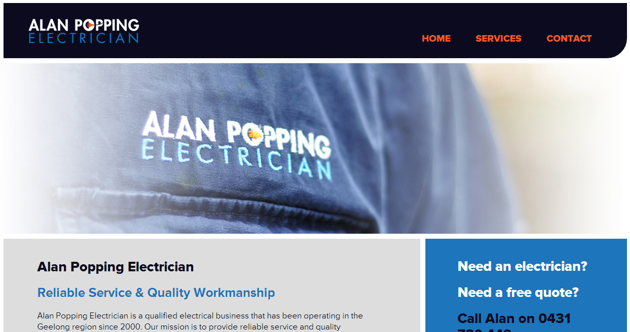 Alan Popping Electrician website